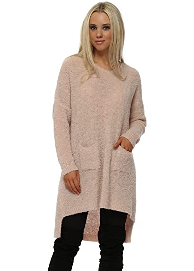 700429cc292 Pinka Nude Fluffy Knit Oversized Pockets Jumper One Size Nude   Amazon.co.uk  Clothing