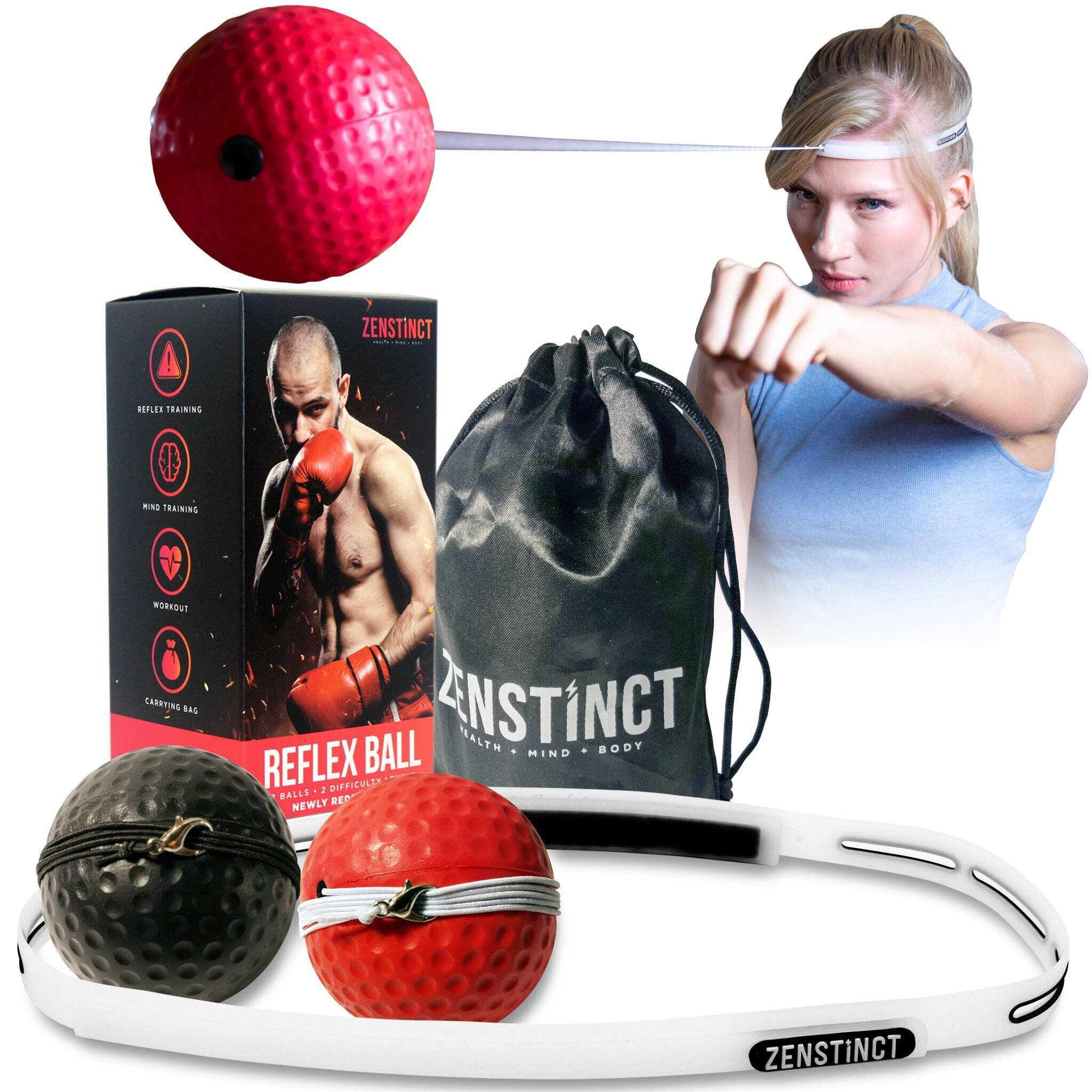 Zenstinct Boxing Reflex Ball Kit – Training Fight Ball with 2 Reaction Ball Levels (Red and Black) – Headband Speed Ball for MMA and Punching Ball for Stress - Safe Boxing Equipment for Kids 6+