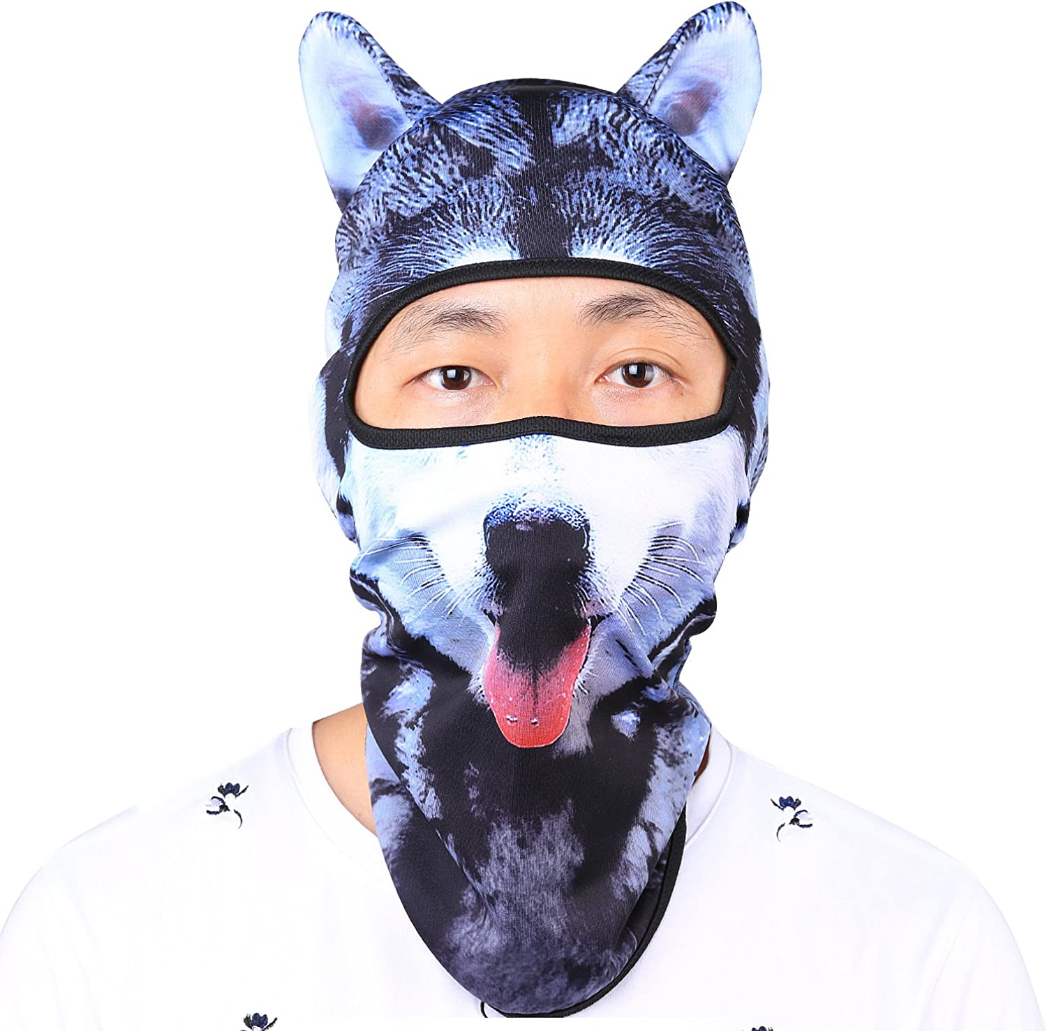 Oumers Animal Balaclava Face Mask with Ears Breathable Hood Face Shield for Outdoor Sports Cycling Motorcycle Ski Halloween Party Gift, One Size Fit Most -Husky Form