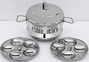 Futensils Stainless Steel Idli Maker/satti/Steamer/Boiler/Cooker/Panai (9 IDLY, 2 Plates), Weight 1.200 KG
