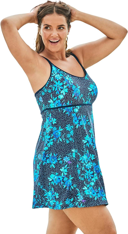 Swimsuits For All Womens Plus Size Empire-Waist Swim Dress