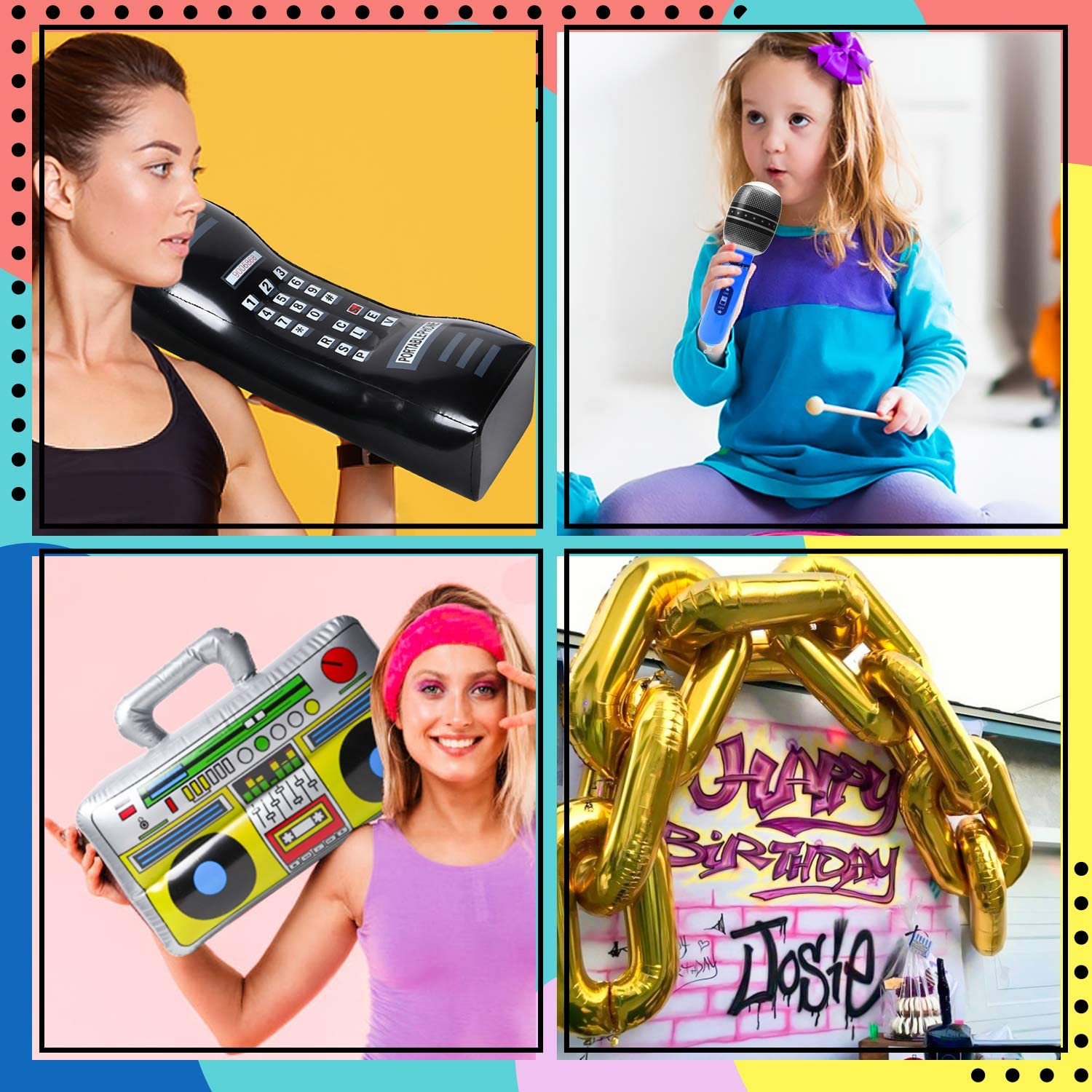 WATINC 28Pcs Inflatable Rock Star Toy Set Hip Hop Theme Birthday Rock and Roll Party Supplies Inflatable Boombox Mobile Phone Guitar Microphone and Gold Foil Chain Balloons for 80s 90s Party Decor