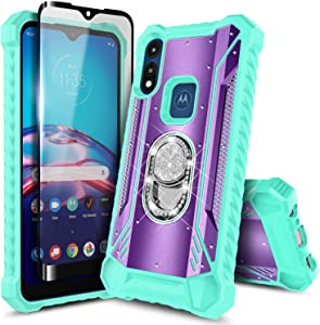 E-Began Case for Motorola Moto E (2020) with Tempered Glass Screen Protector (Full Coverage), Aluminum Magnetic Metal Built-in Diamond Ring Stand, Full-Body Protective Shockproof Case (Purple/Teal)