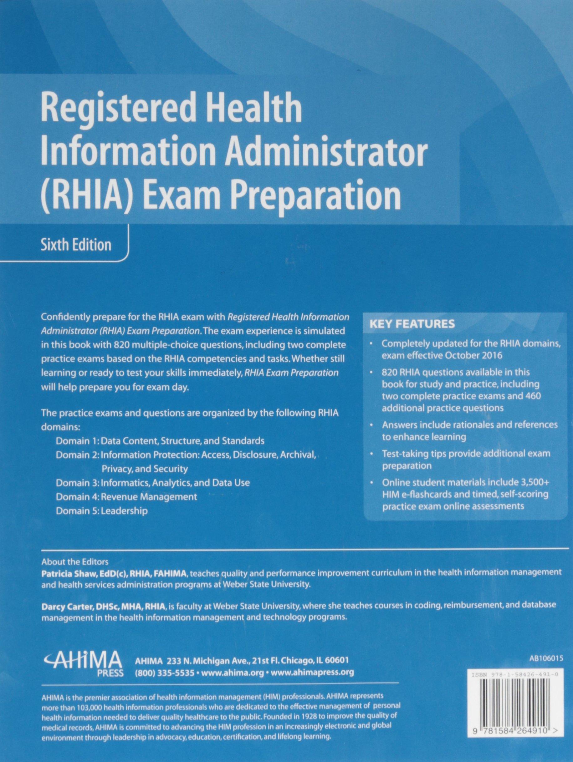 Registered health information administrator rhia exam prep by registered health information administrator rhia exam prep by patricia shaw 9781584264910 books amazon xflitez Choice Image
