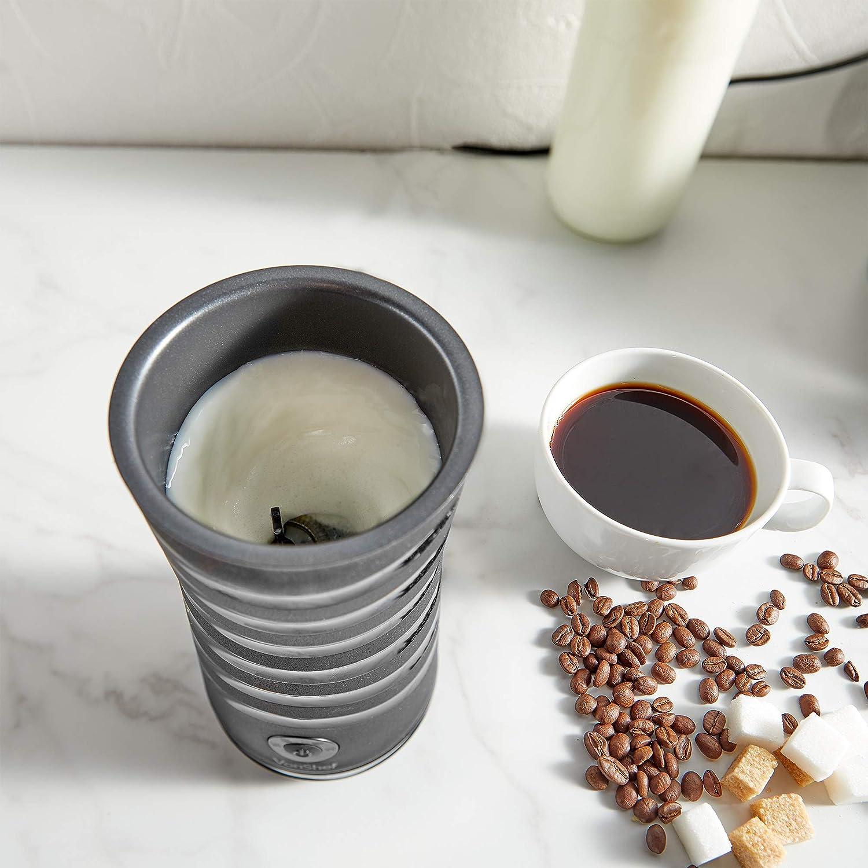 VonShef Espumador Batidor de Leche color negro - Calentador de leche de pared doble/espumante Ideal para Cappuccino, Latte, Macchiato y otras bebidas ...