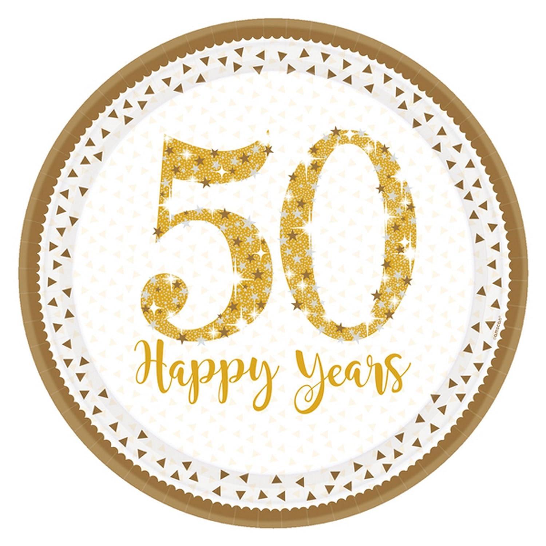 Amscan International 9902213 23 cm Sparkling Golden Anniversary Prismatic Paper Plates
