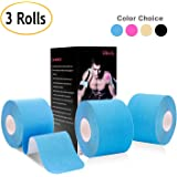 """Udaily Kinesiology Tape Precut (3 Rolls pack), Elastic Therapeutic Sports Tape For Knee Shoulder and Elbow, Breathable, Water Resistant, Latex free, 2"""" x 16.5 feet Per Roll, 20 Precut 10 Inch Strips"""
