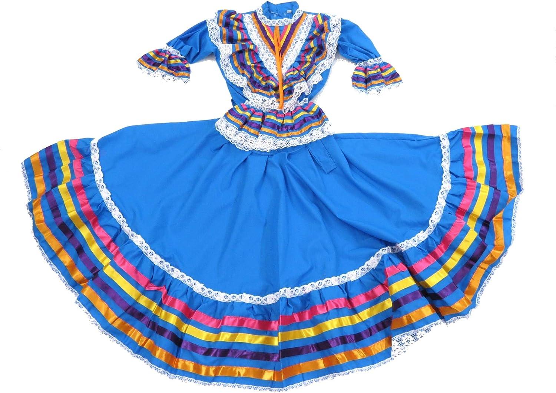 Details about  /Blue Mexican Maxi Dress Guadalajara 3 pc w//sarape sash folklorico Peasant Vtg