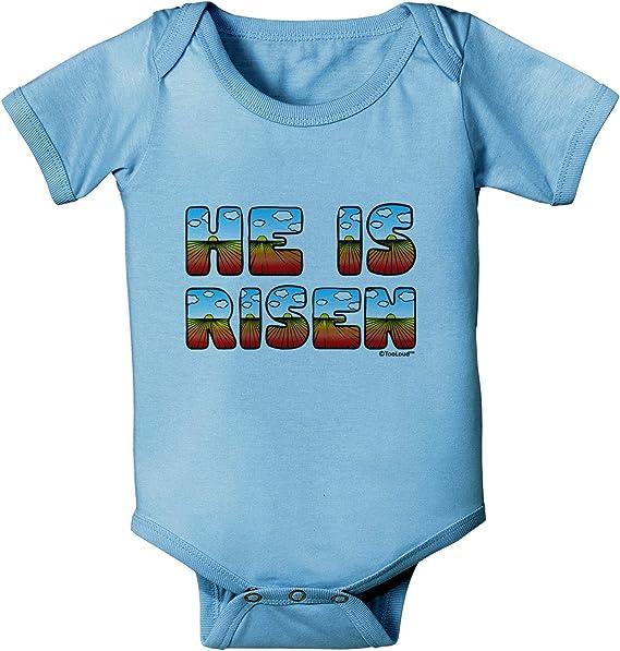 Easter TooLoud He is Risen Sunrise Letters Baby Romper Bodysuit