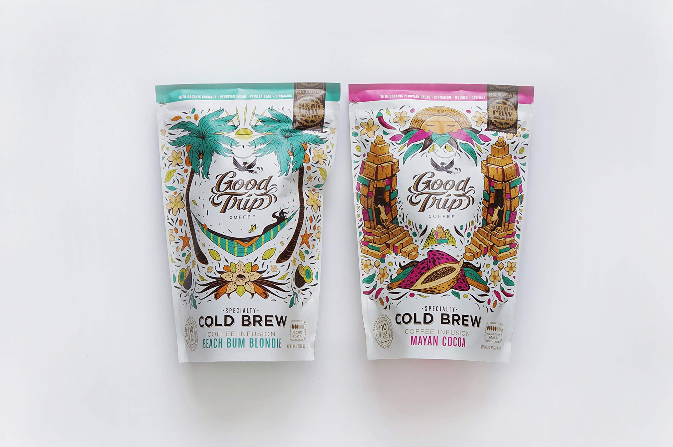 Good Trip: Mayan Cocoa + Beach Bum Blondie Organic Coffee Gift Set ~ As Seen in Anthropologie | Infused w/ Botanicals & Spices (Vegan, Gluten-Free, Keto, Non-GMO), 20 Cold Brew Mess-Free Bags