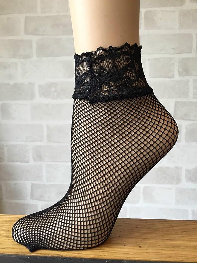 2 Pairs Ladies Lace trim fishnet ankle Socks 37-41 eur 4-7 uk Natural Nude