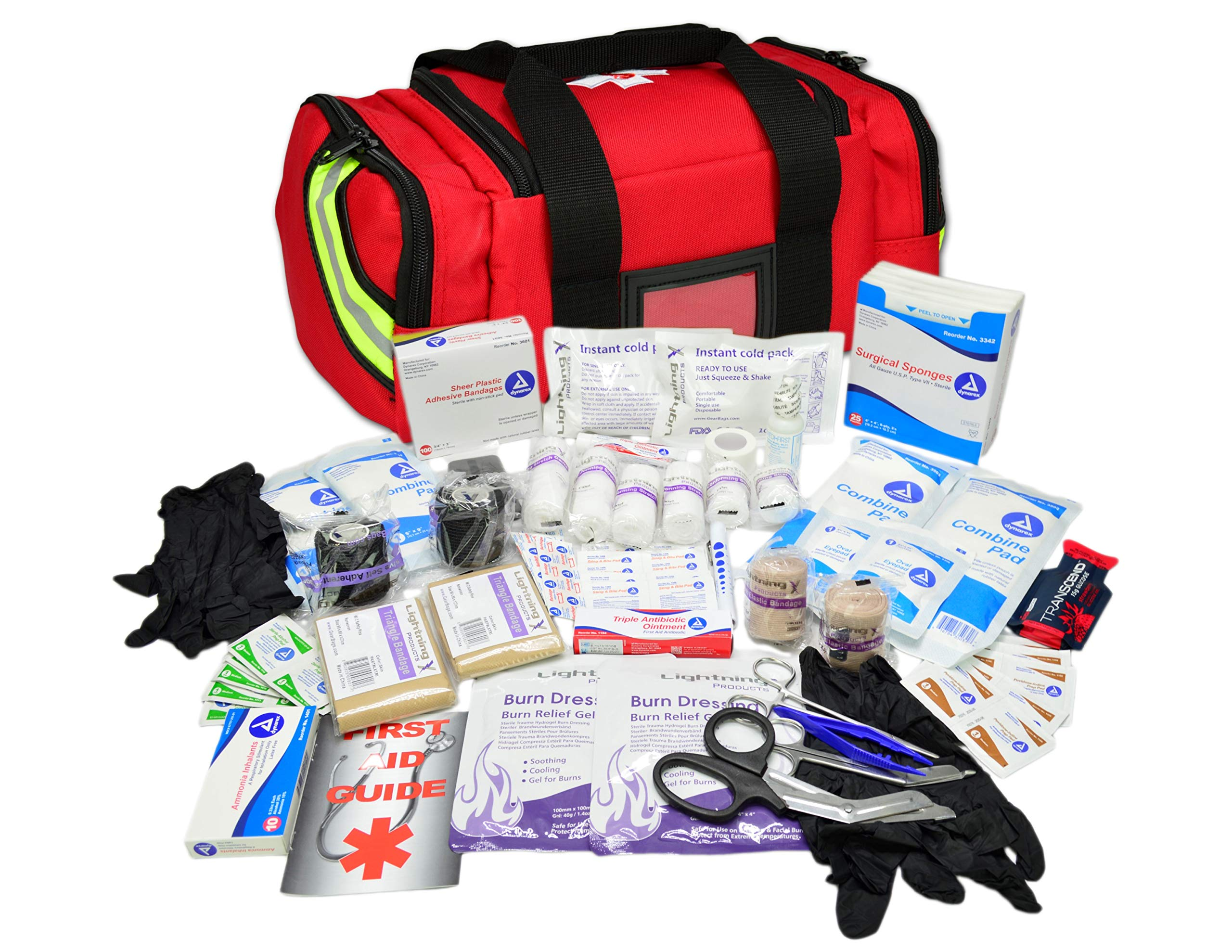 Lightning X Value Compact Medic First Responder EMS/EMT Stocked Trauma Bag w/Basic Fill Kit A - RED by Lightning X Products