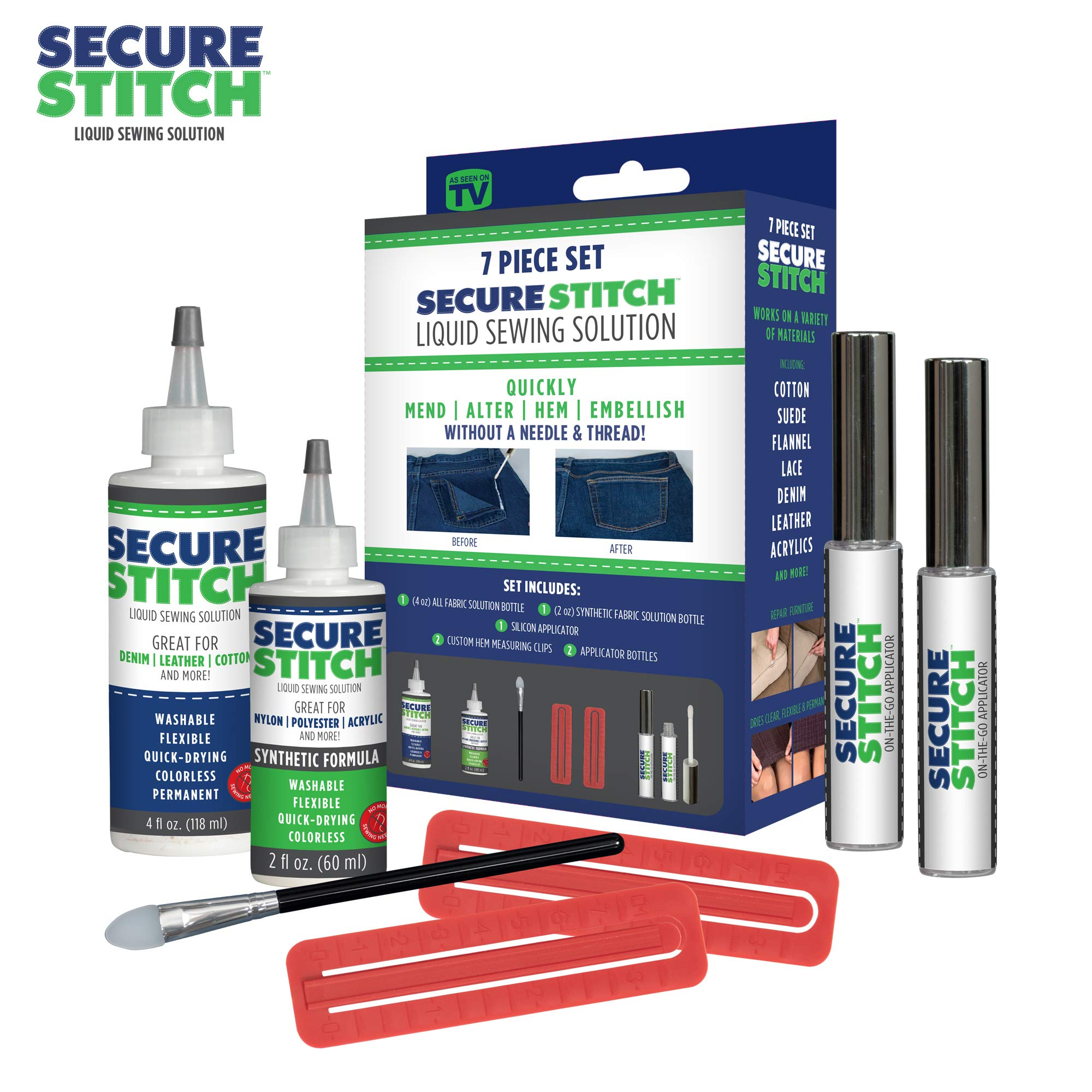 Secure Stitch Liquid Sewing Solution Kit! Fabric Glue That Quickly Mends, Alters, Hems & Embellishes Without a Needle and Thread! Includes: 4oz.Fabric Solution & 2oz All Fabric Solution by Allstar Innovations
