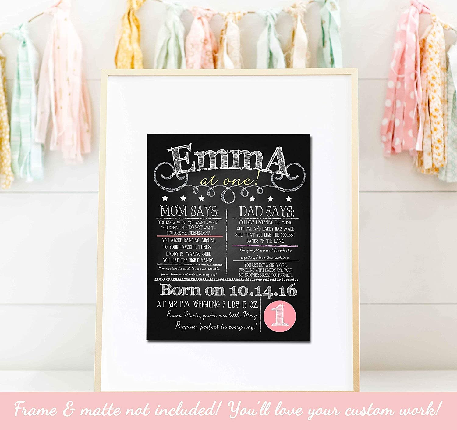 Birthday Chalkboard Sign - Personalized Birthday Sign - You Choose Colors