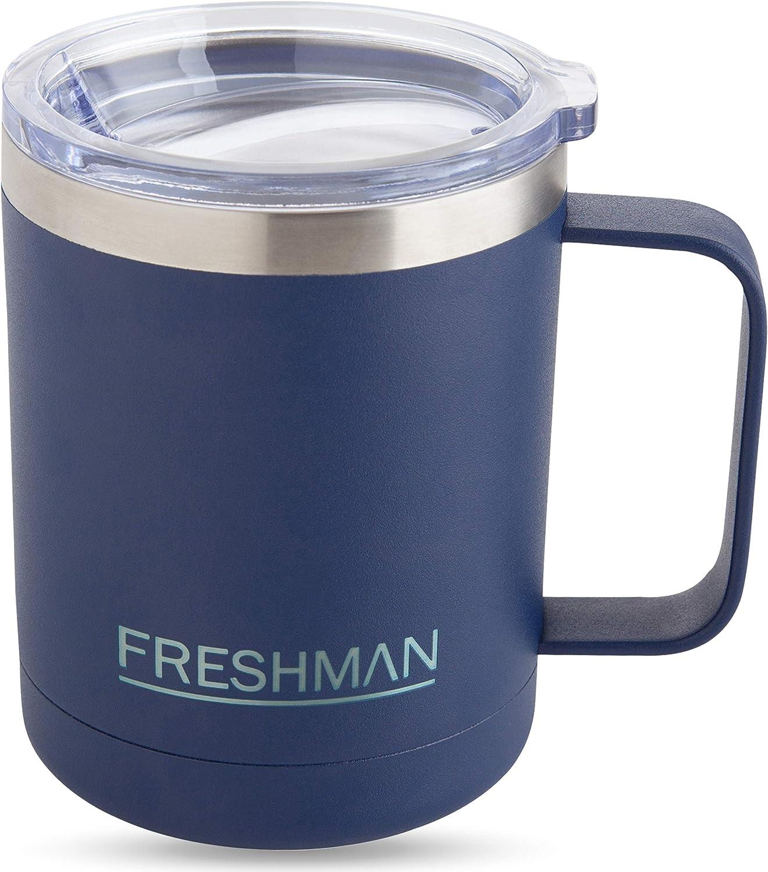 Tazza da caff/è in Acciaio Inox 18//8 con Coperchio e Manico Freshman 350 ml Tazza Isolante Campeggio Blu Tazza da caff/è con Manico Tazza Termica sottovuoto a Doppia Parete