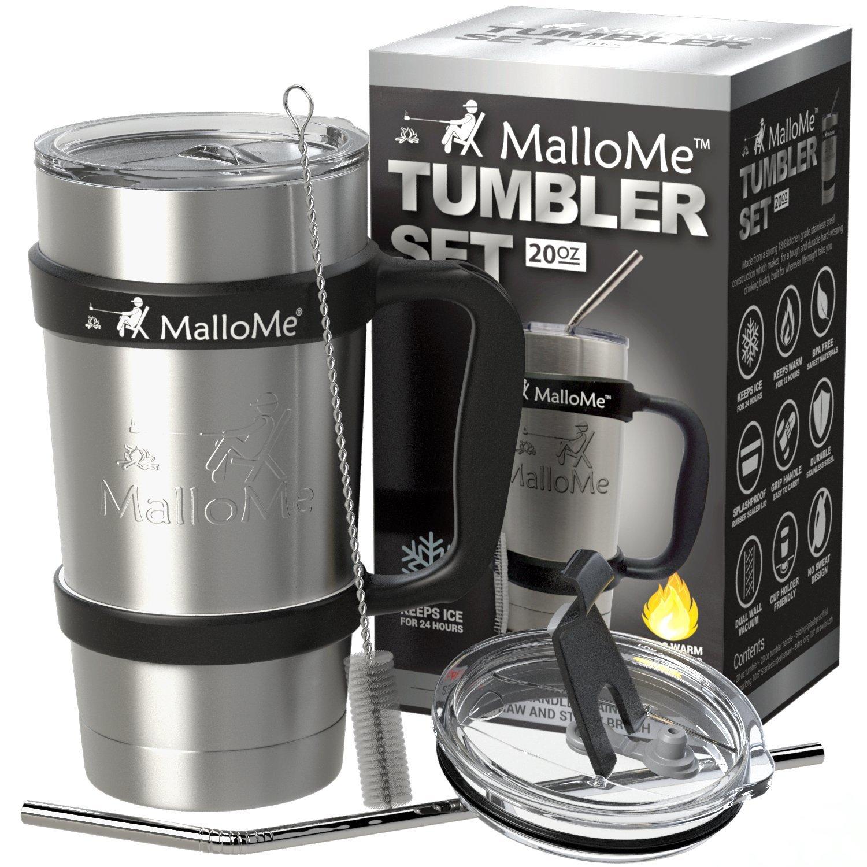 Travel Coffee Cup Mug Tumbler - 20 oz - Stainless Steel Vacuum Insulated Mug 6-Piece Set - Includes 2 Lids, Straw, Brush, Handle