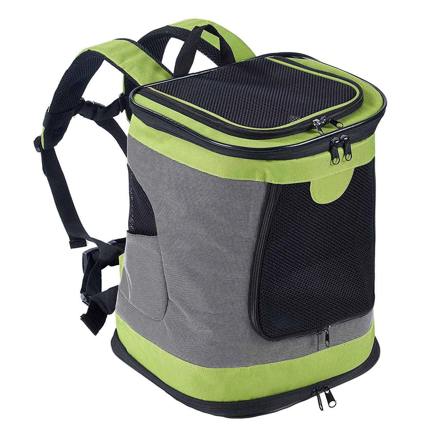 Green TOOGOO Pet Carrier Backpack for Small Medium Dogs Cats, Airline Approved Bag with Mesh Windows for Travel, Hiking, Outdoor Green