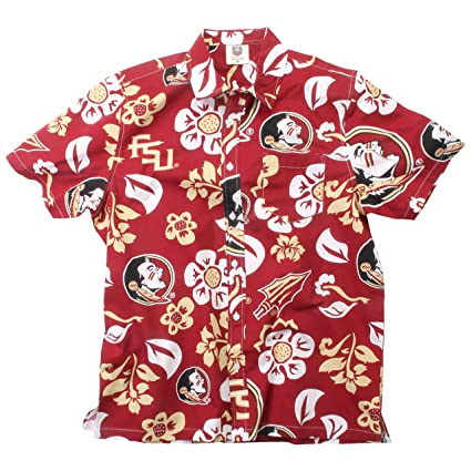 6cce10d4f48 Wes and Willy NCAA Mens Short Sleeve Button Up Floral Beach Shirt (Small