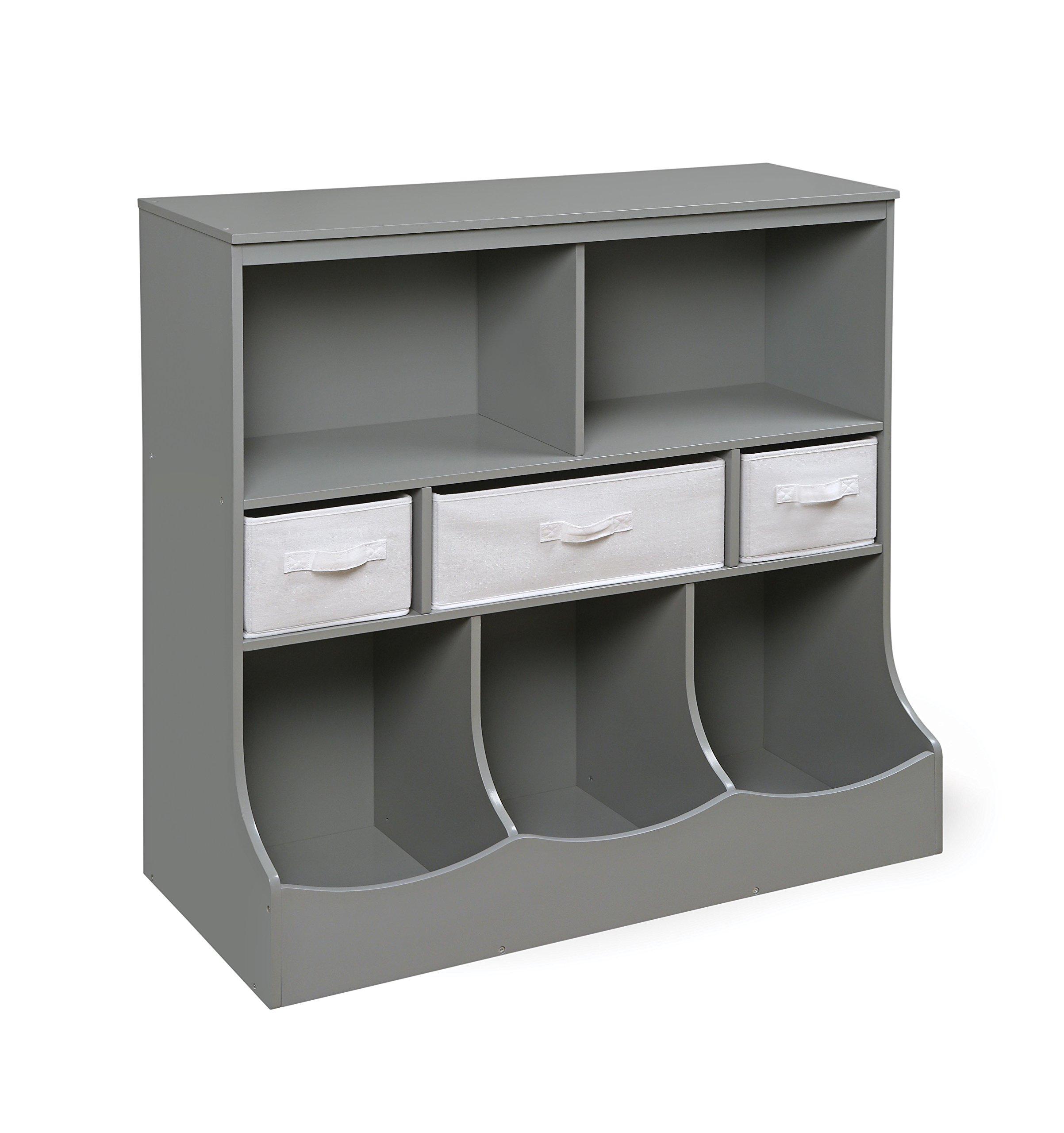Badger Basket Combo Bin Storage Unit with Three Baskets, Gray