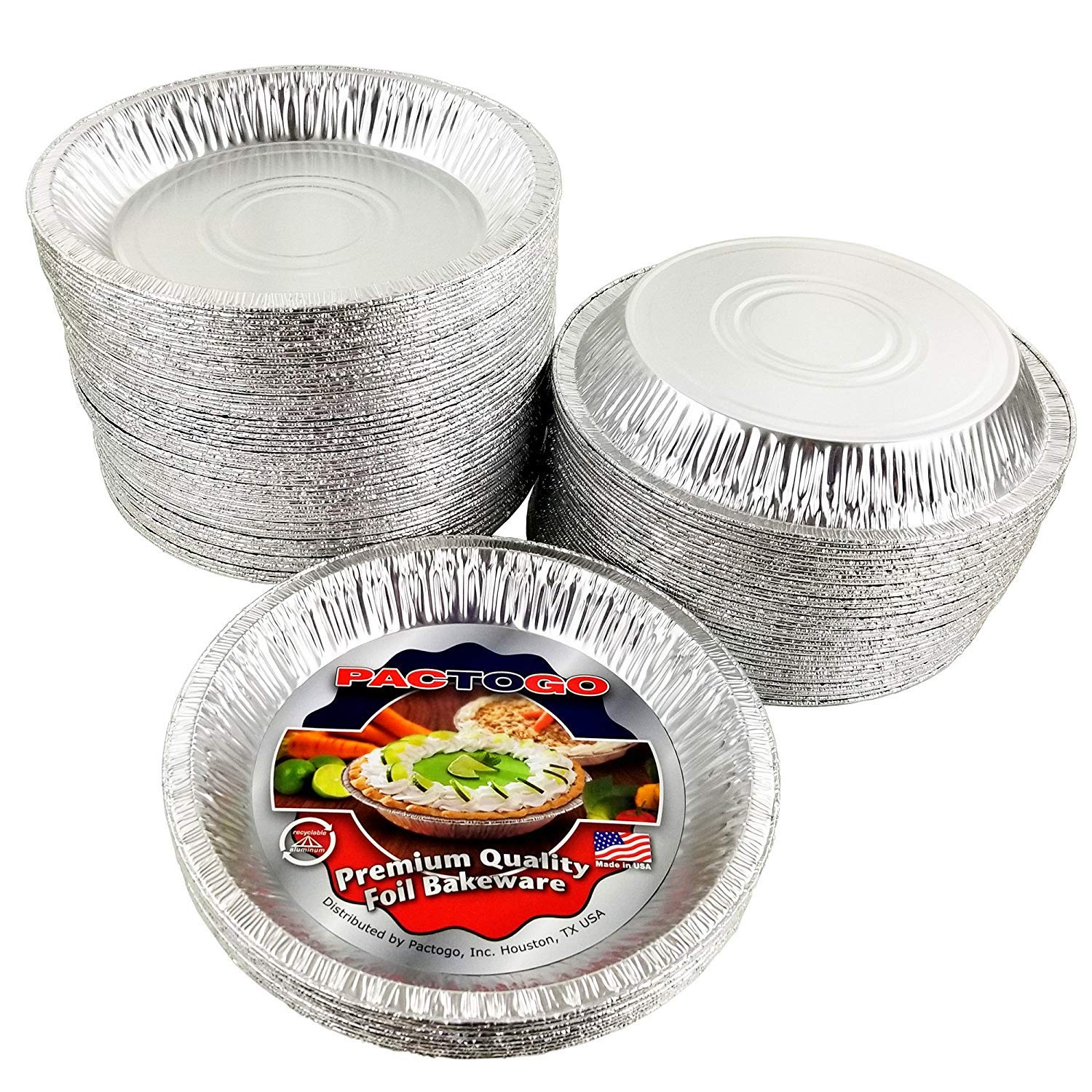 Pactogo Aluminum Foil Pie Pan (Actual Top-Out 9-5/8 Inches - Top-In 8-3/4 Inches - Vertical Depth 1-3/16 Inches) - Disposable Baking Tin Plates (Pack of 100) by PACTOGO (Image #1)