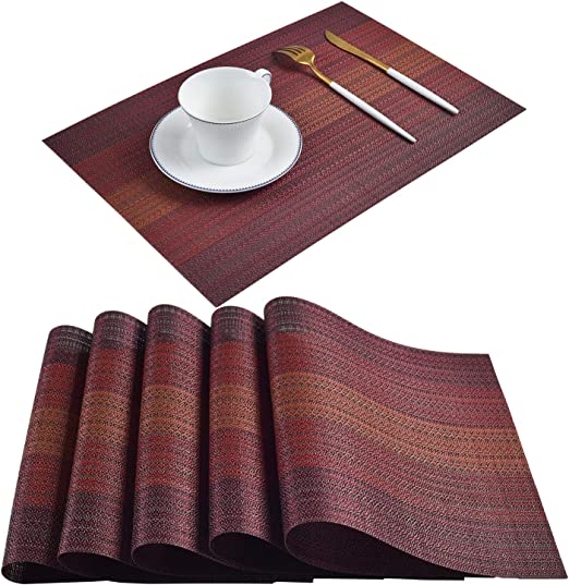 Dining Table Mats Tableware Placemats Non-Slip Dinner Plates Mats Heat Resistant