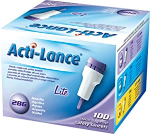 Acti-Lance 7155 28 g x 1.5 mm depth, Button Activated Safety Lancet, Lite, Lavender (Pack of 100)