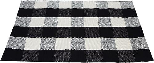 Black White Cotton Rug Checkered Plaid Area Rug Kitchen Mat Entry Way Bath Doormat Bedroom Carpet Washable 23.6 x35.4