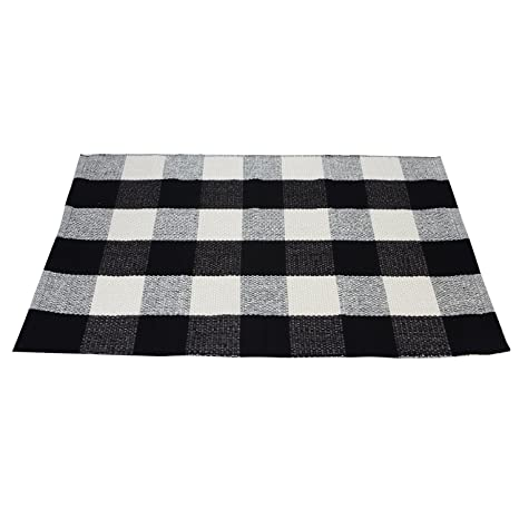 Amazoncom Pragoo Black White Cotton Rug Checkered Plaid Area Rug