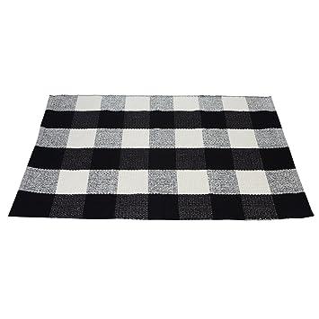 Amazon Com Pragoo Black White Cotton Rug Checkered Plaid Area Rug