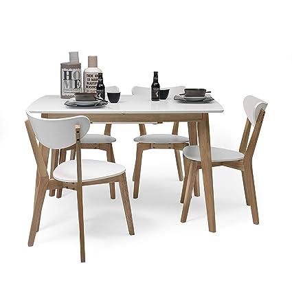 Homely - Conjunto de Comedor de diseño nórdico MELAKA Mesa Extensible Blanca y 4 sillas Blancas