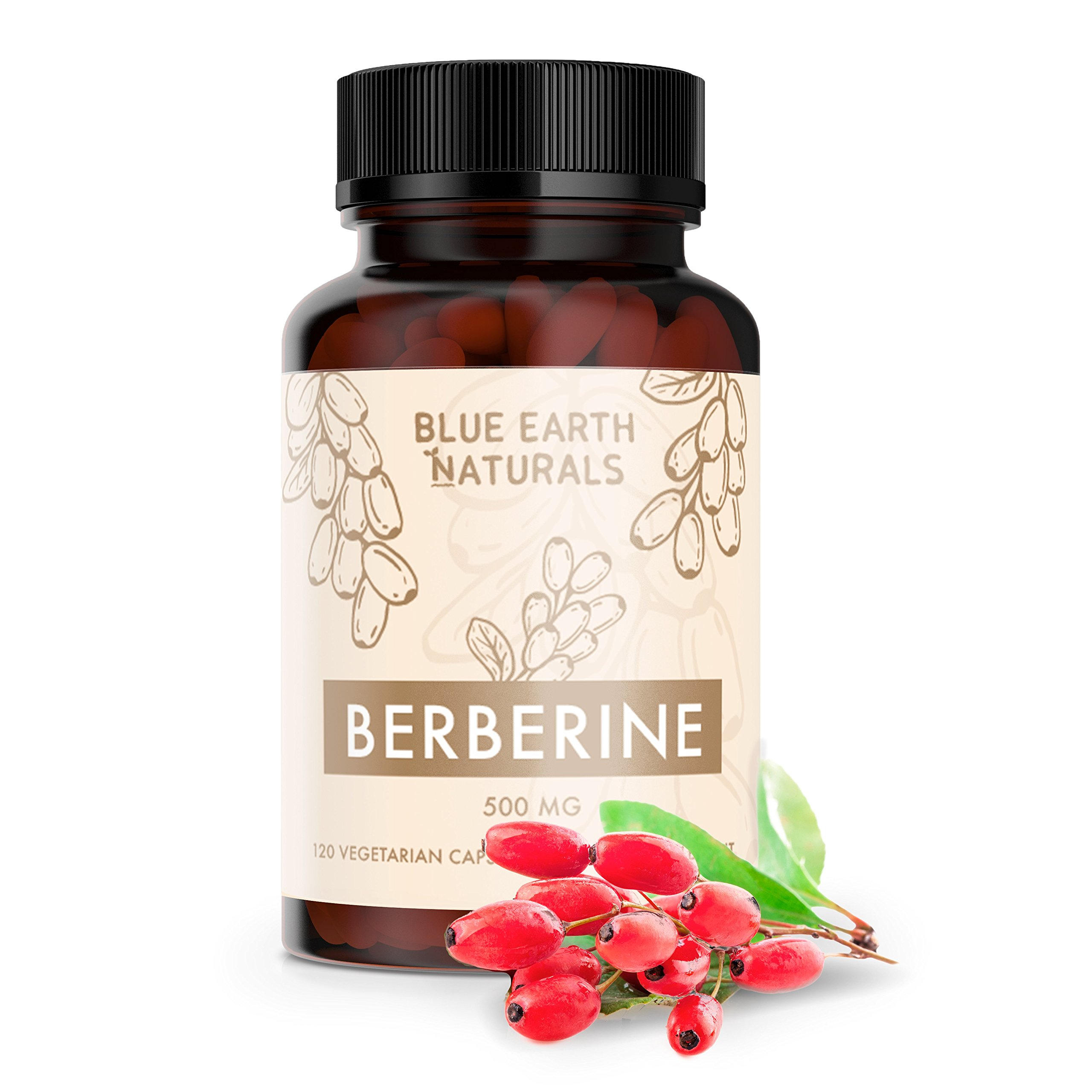 All Natural Berberine HCl 500 mg 120 Vegetarian Capsules