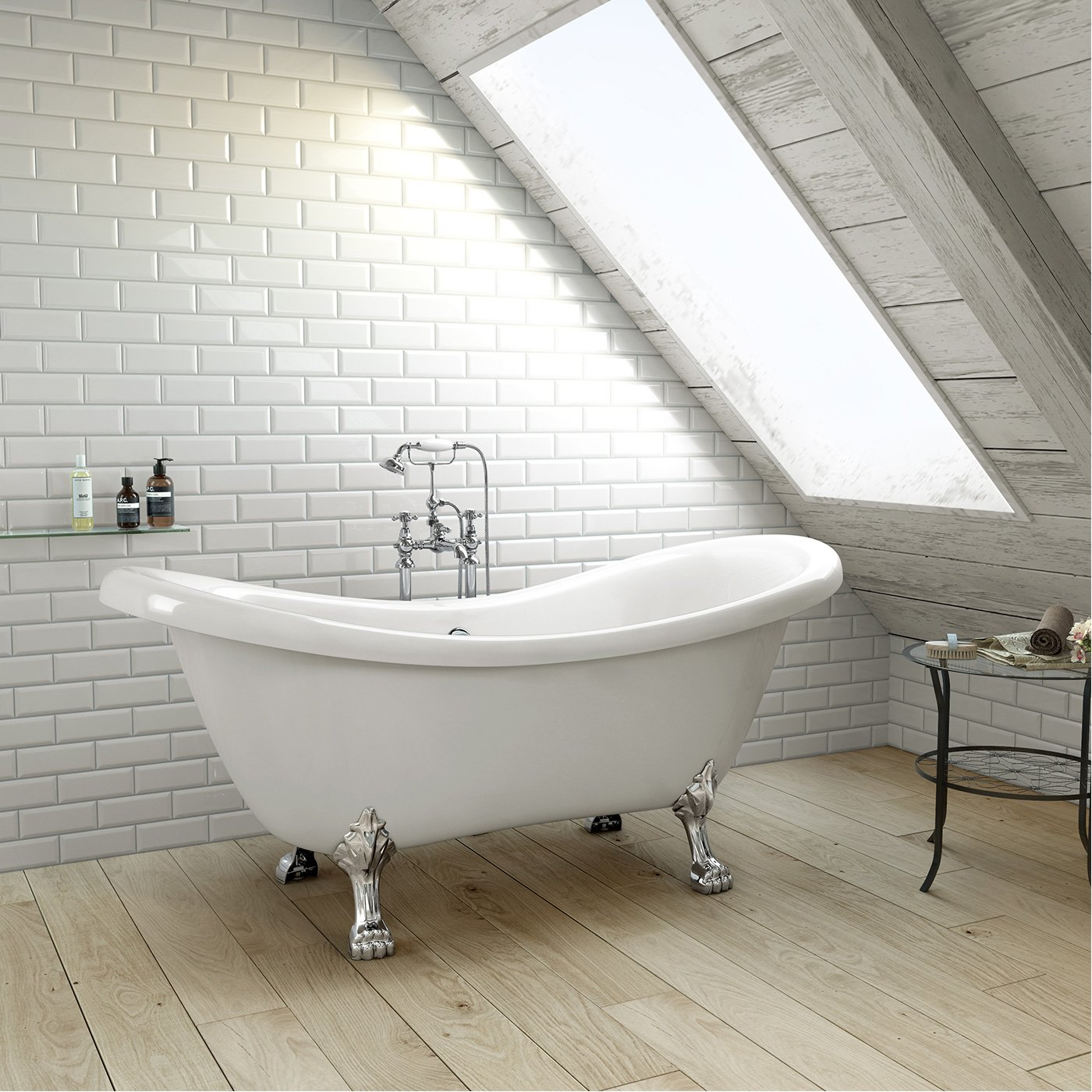 1600mm Traditional Large Roll Top Freestanding Slipper Bath with ...