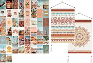 PROCIDA Aesthetic Wall Collage Kit Room Decor for Teen Girls 50 Set 4x6 inch Bundle with 2 Pack Bohemian Geometric Mandala Tapestry Art Pink Orange Linen Tapestry