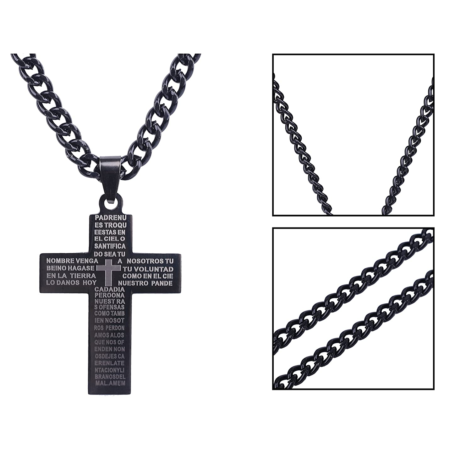 Paxuan mens womens 2pcs surgical stainless steel silver black paxuan mens womens 2pcs surgical stainless steel silver black lords prayer cross pendant chain necklace set for men women 24 silver black amazon biocorpaavc
