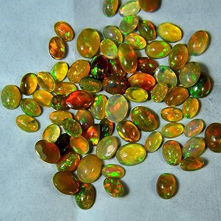 Rainbow Fire Opal High Quality Opal Wholesale Opal lot Opal jewelry Opal Cabochon 7x5 MM 2 Piece Lot Natural Ethiopian Opal Gemstone