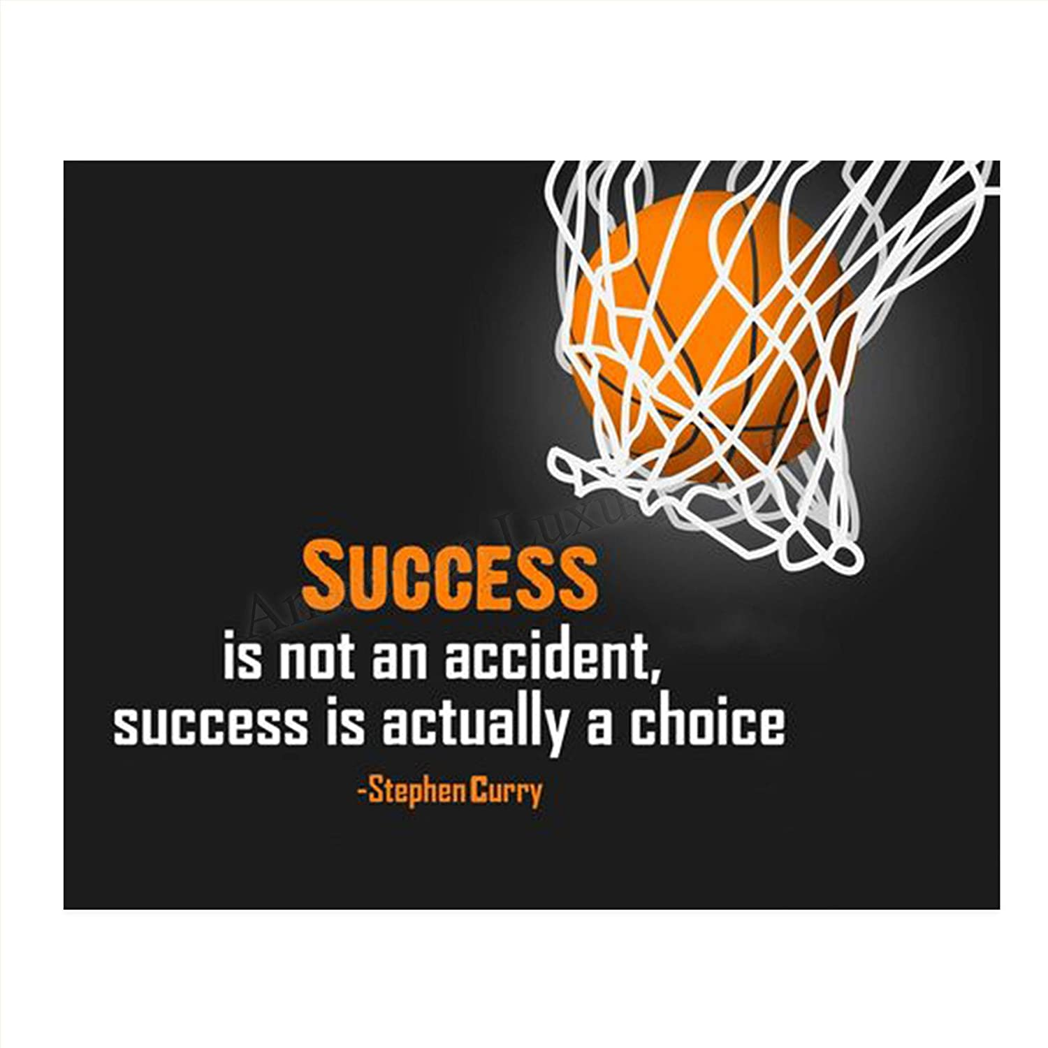 """Stephen Curry Quotes-""""Success is a Choice""""- 10 x 8""""-Motivational Basketball Poster Print-Ready to Frame. Inspirational Wall Art. Home Decor-Office Décor. Perfect for Locker Room-Gym-Bedroom."""