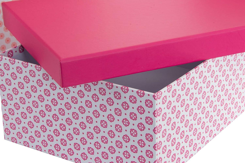 Item Cajas Forradas, Cartón, Rosa, 39.0x36.0x31.0 cm 6 Unidades: Amazon.es: Hogar