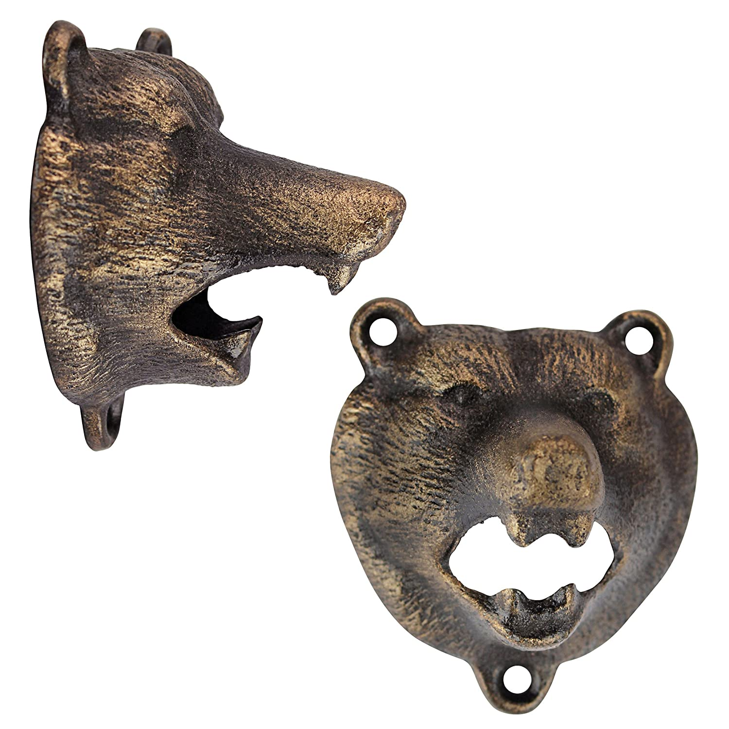 3 Inch Cast Iron Aged Gold Design Toscano Grizzly Bear of the Woods Wall Mount Bottle Opener