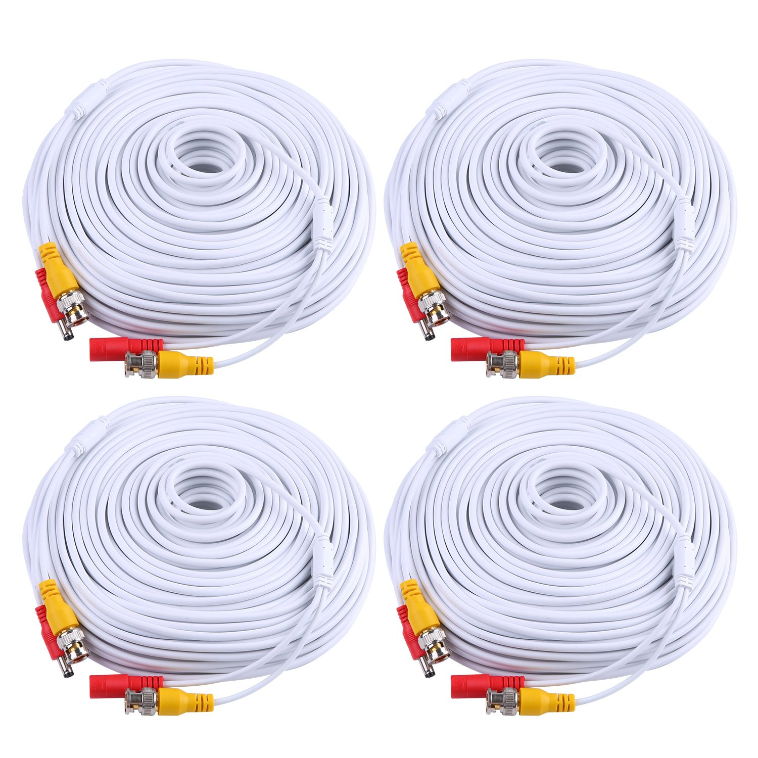 ANNKE (4) 150 Feet Video Power Cable for Security Camera System, All-in-One BNC Video and Power CCTV Security Camera Cable with Two Female Connectors (White) by ANNKE