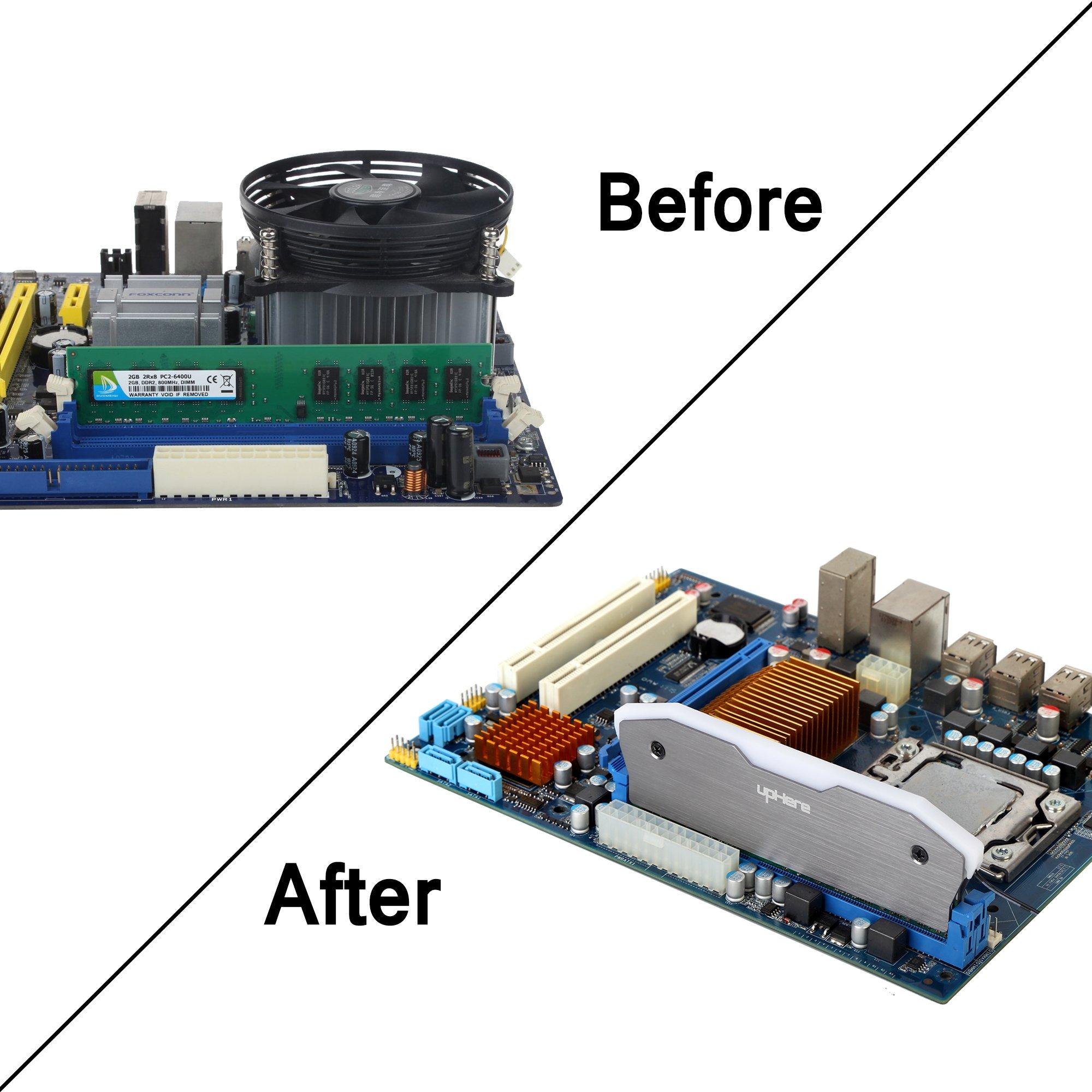 Memory RAM Black Cooler Heat Sink Cooling Vest Fin Radiation Dissipate DIY PC Game Overclocking MOD DDR DDR3 DDR4,2-Pack(MBK5-2) by upHere (Image #6)