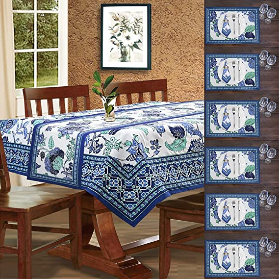 Cloth Fusion Cotton Table Linen Set of 14 Pc (1 Table Cover, 1 Runner, 6 Place Mats, 6 Napkins)- Lagoon <span at amazon