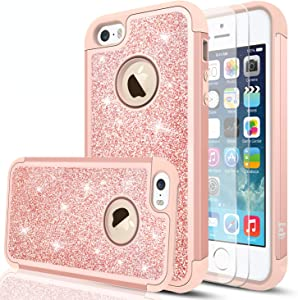 iPhone SE Case(2016), iPhone 5 /iPhone 5S Case with Tempered Glass Screen Protector [2 Pack],LeYi Glitter Bling Girls Women Heavy Duty Protective Case for iPhone 5S/5/SE TP Rose Gold
