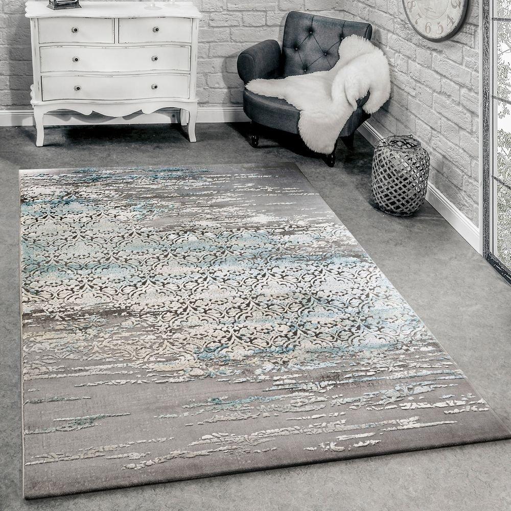 Paco Home Designer Teppich Wohnzimmer Moderne Ornamente Muster Meliert Grau Blau, Grösse 160x230 cm