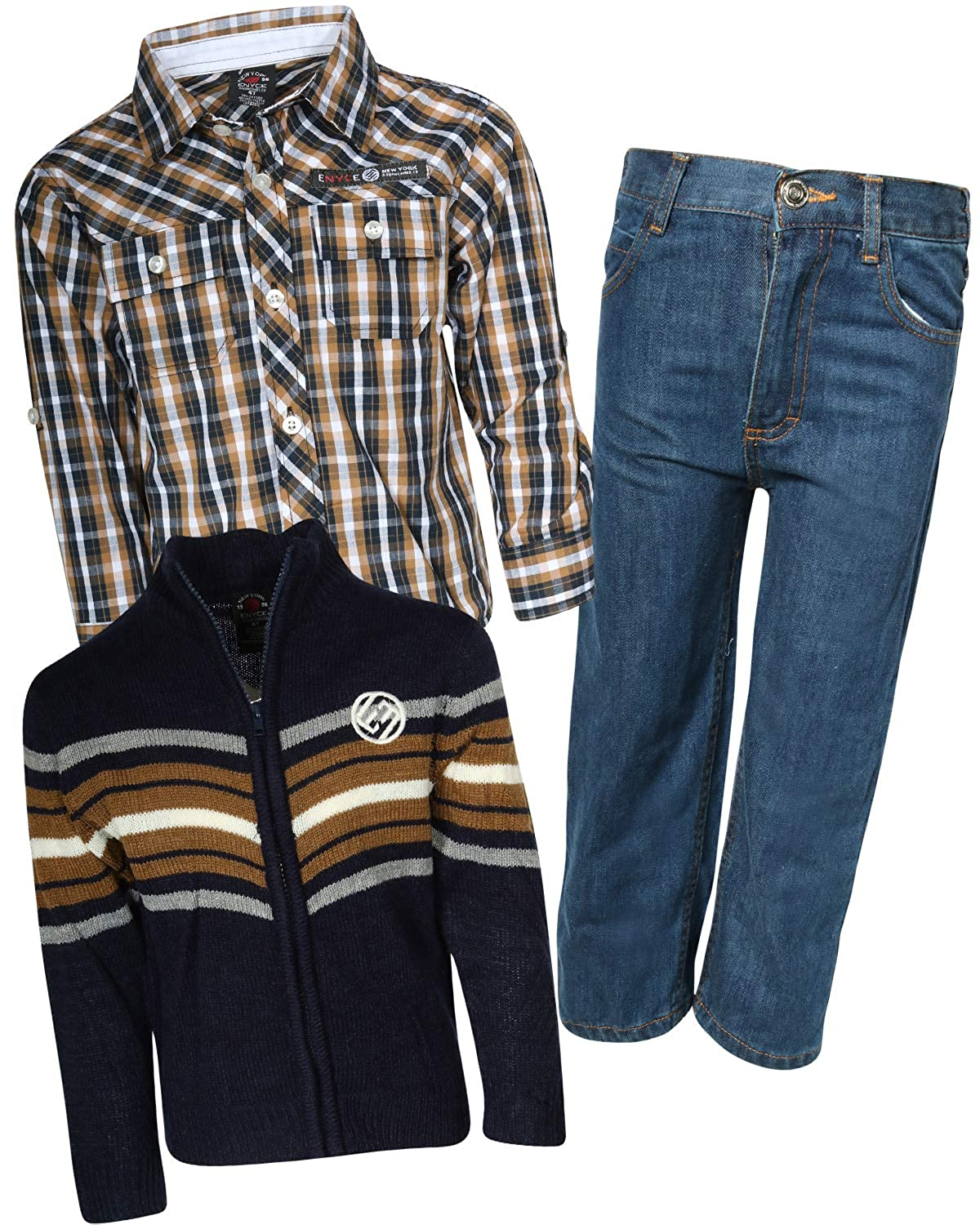 Enyce Boys 3-Piece Pant Set with Zip-Up Sweater & Woven Shirt