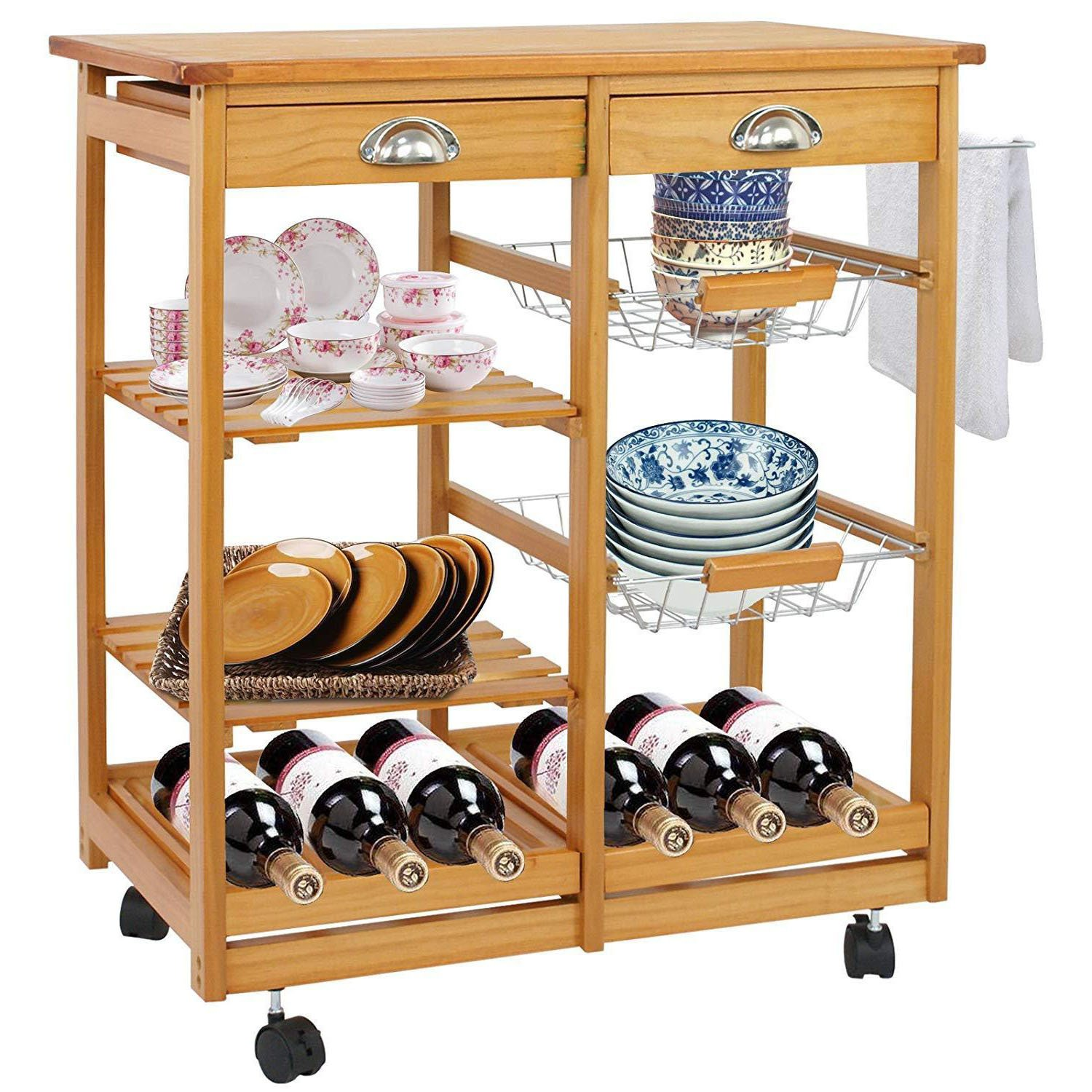 TG888 Rolling Durable Wood Kitchen Island Trolley Cart Dining Storage Drawers Shelf Cabinet