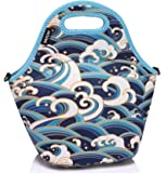 Lunch Bag Tote,Vaschy Big Girls' Neoprene Insulated Container One Size Ocean Waves