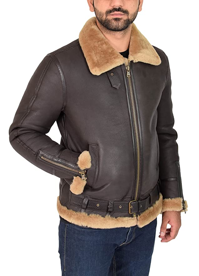 Mens Sheepskin Jacket B3 Flying Leather Aviator Pilot Coat Nathan Brown Ginger at Amazon Mens Clothing store: