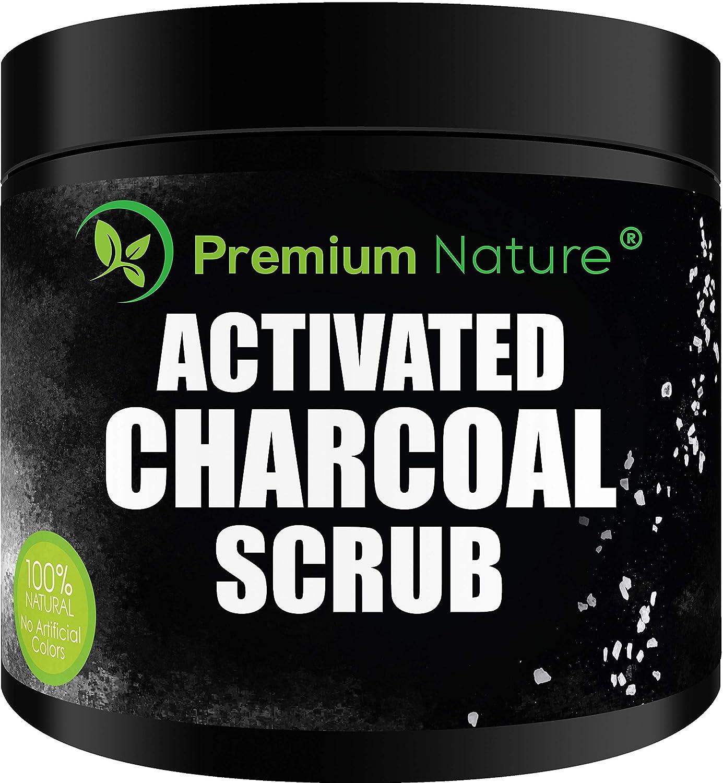 Activated Charcoal Exfoliating Body Scrub - Exfoliating Face Hand Lip Foot & Body Sea Salt Exfoliator Pore Minimizer Deep Facial Cleansing Blackhead & Acne Scars Remover, Anti Cellulite