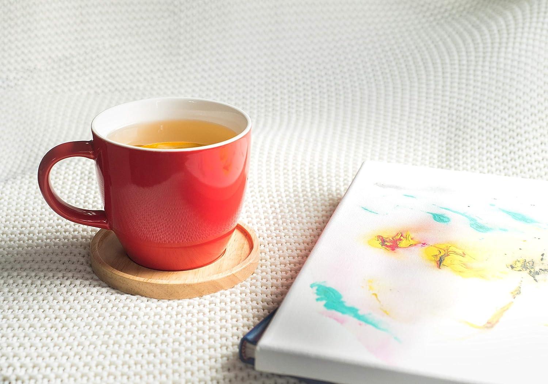 17 oz. - Gift Box Red Amuse- Aquarelle Collection- Grande Porcelain Mug with Bamboo Lid