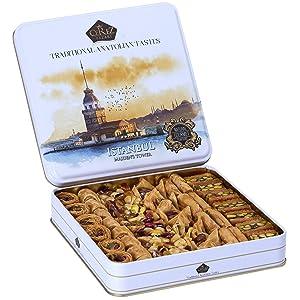 Cerez Pazari Premium Assorted Baklava Pastry Tin Gift Box Large 1.32lbs ℮ Apprx.45-48 pcs | Turkish Pistachio, Almond, Walnut, Cashew, Hazelnut Traditional Dessert | No Preservatives, No Additives